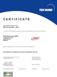 STS Electronics TUV NORD certificate